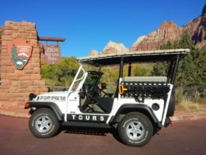 White Jeep Tour Vehicle